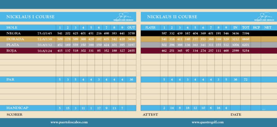 21+ Cabo real golf course scorecard information